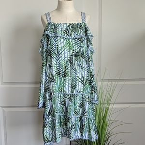 Red Carter Palm Print Tiered Dress Coverup NWT